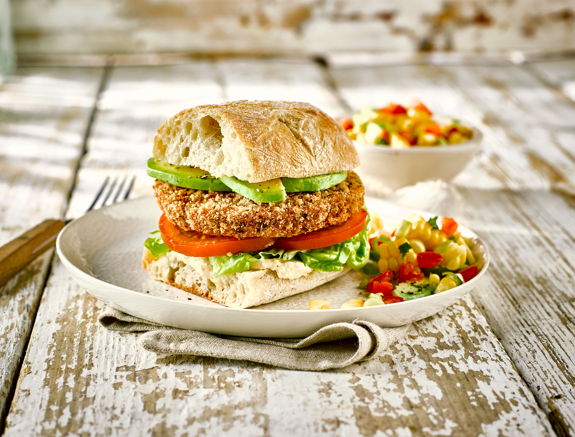 Spicy Bean Burger Ciabatta
